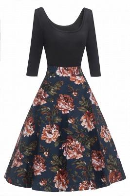 Attrayants scoop robes à la mode manches 3/4 | Robes florales de femmes_2