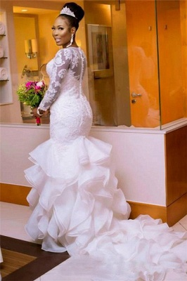 Elegant Jewel Long-Sleeves Tulle Lace Long Wedding Dress with Court Train_2