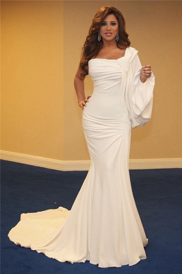 Stylish One-Shoulder Ruffles Mermaid Long Evening Dress_1