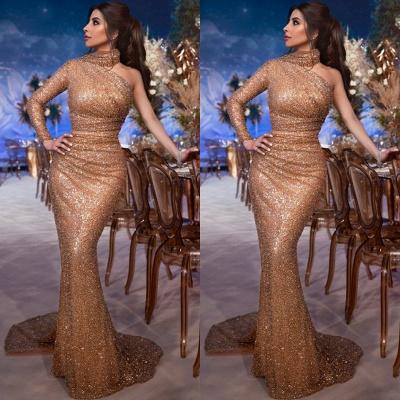 Glamorosa Hign-Neck Lentejuelas de un solo hombro Vestido de noche de sirena_2