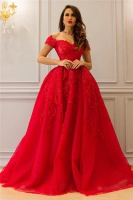 Tulle Lace Off-the-Shoulder Sweetheart Red Evening Dress_1