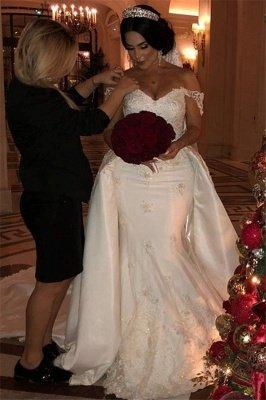 Vestido de novia largo con encaje desmontable y apliques de encaje de tul y hombros descubiertos_3