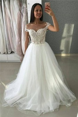 Simple A-Line Tulle Appliques Cap-Sleeves Wedding Dress