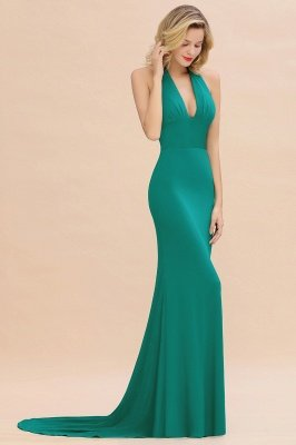 Elegant Mermaid Halter Pool Bridesmaid Dress Online_38
