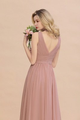 Elegant V-Neck Ruffles Bridesmaid Dress On Sale | Sexy Long Evening Dresses_9