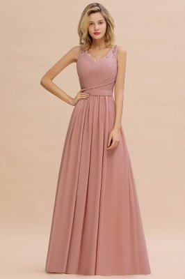 Beautiful V-neck Long Evening Dresses with soft Pleats | Sexy Sleeveless V-back Dusty Pink Womens Dress for Prom_14