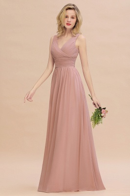 Elegant V-Neck Ruffles Bridesmaid Dress On Sale | Sexy Long Evening Dresses_6