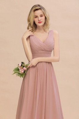 Elegant V-Neck Ruffles Bridesmaid Dress On Sale | Sexy Long Evening Dresses_8