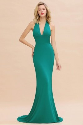 Elegant Mermaid Halter Pool Bridesmaid Dress Online_35