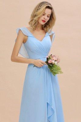 Candance | Simple Hi-Lo V-Neck Ruffles Long Cheap Bridesmaid Dress Online_7