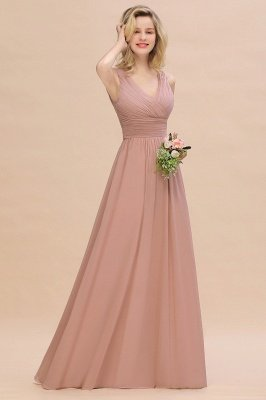 Elegant V-Neck Ruffles Bridesmaid Dress On Sale | Sexy Long Evening Dresses_1