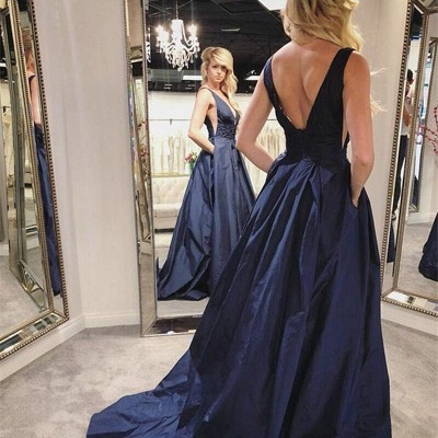 Sexy Deep V Neck Navy Blue Prom Dress | Charming Sleeveless Ruffles Long Prom Gown_2