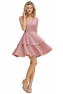 Sexy V-neck V-back Knee Length Homecoming Dresses with Ruffle Skirt | Burgundy, Navy, Pink Dress for Homecoming_8