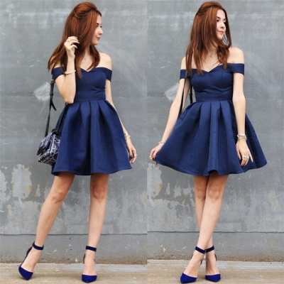 Off The Shoulder Navy Homecoming Dress Cheap | Sexy Cheap Short Hoco Dresses Online_4