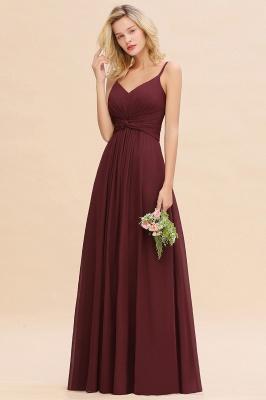 Elegantes Brautjungfer Kleid Weinrot | Schlichte Brautjungfernkleider Mit Träger Bodenlang_2