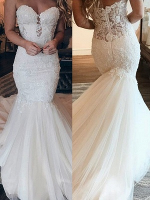 Affordable Strapless Tulle Lace Wedding Dress | Chic Mermaid Sleeveless Long Dress For Wedding_2