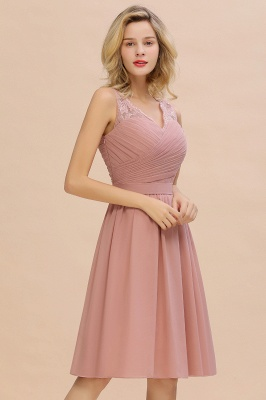 Lace V-neck Long Short Homecoming Dresses with Belt | Sexy Sleeveless V-back Pink Knee length Cocktail Dress_9