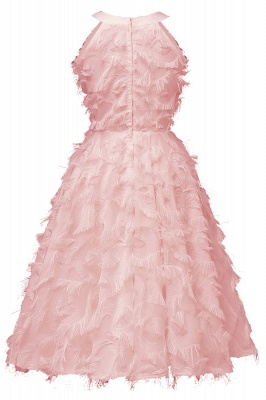 Elegant Halter Feather Princess Vintage Dresses | Retro A-line Burgundy Homecoming Dress_9