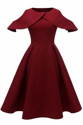 Elegantes U-Ausschnitt Halbarm 50er Jahre Kleid | Vintage Rockabilly Kleid Günstig_1