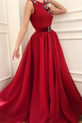 Cute Satin A Line Fowers Red Prom Dress with Dragonfly | Chic Scoop Sleeveless Long Prom Dress with Sash_1