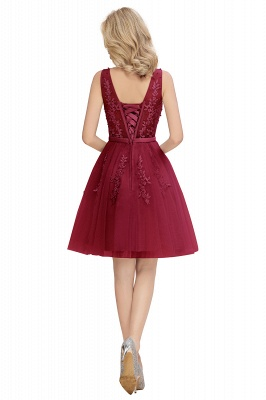 Sexy V-neck Lace-up Short Homecoming Dresses with Lace Appliques | Burgundy, Navy, Dusty pink Back to school Dress_21