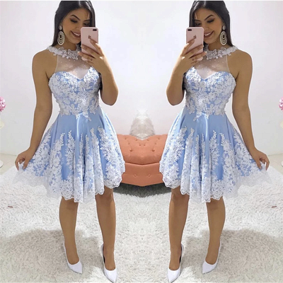 Gorgeous Jewel White Appliques Homecoming Dress | Cheap Sleeveless Short A Line Cocktail Dress_2