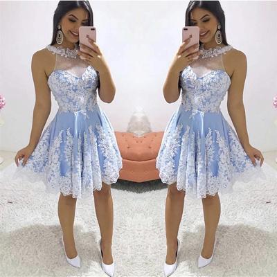 Wunderschöne Juwel weißen Applikationen Heimkehr Kleid | Günstige ärmellose Short A Line Cocktailkleid_2