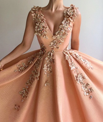 Sparkly Sequins V Neck Sleeveless Prom Dress | Chic Appliques Long Affordable Prom Dress_2