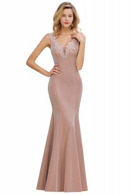 Sparkly Deep V-neck Long Evening Dresses | Elegant Flowers Neck Sleeveless Pink Floor-length Formal Dress_12
