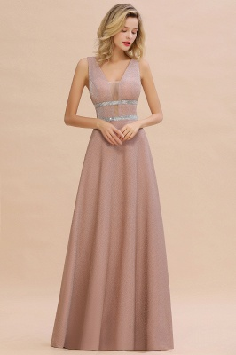 Sparkly Deep V-neck Long Evening Dresses with Shining Belt | Elegant Sleeveless V-back Pink Formal Dress_6
