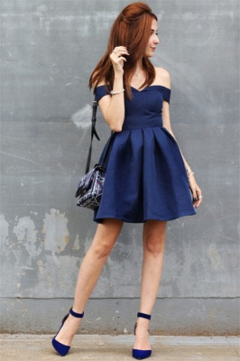 Off The Shoulder Navy Homecoming Dress Cheap | Sexy Cheap Short Hoco Dresses Online_3