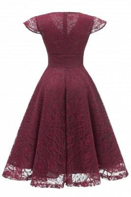 Retro Lace Cap Sleeves Dress Elegant Cocktail Party V-neck A Line Vintage Dress_12