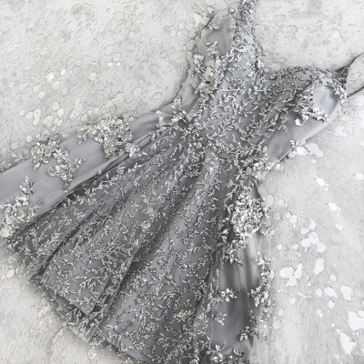 Appliques Silver Short Homecoming Dresses | Beads Cheap Hoco Dress Online_3