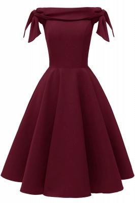 Womens Bateau Burgundy Navy Ruby Vintage Dresses | Retro Princess Short Party Dress_2