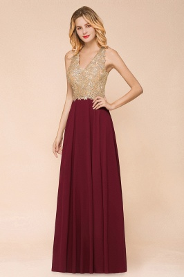 Wunderschönes ärmelloses Burgunder-Abendkleid mit V-Ausschnitt | Billiges formelles Kleid_2