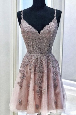 Fantastic V Neck Sleeveless Beading Homecoming Dress | Chic Spaghetti Straps Lace Short Cocktail Dress_1