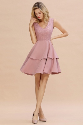 Sexy V-neck V-back Knee Length Homecoming Dresses with Ruffle Skirt | Burgundy, Navy, Pink Dress for Homecoming_15