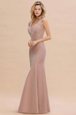 Sparkly Deep V-neck Long Evening Dresses | Elegant Flowers Neck Sleeveless Pink Floor-length Formal Dress_14