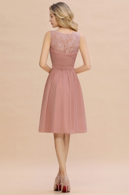 Lace V-neck Long Short Homecoming Dresses with Belt | Sexy Sleeveless V-back Pink Knee length Cocktail Dress_10