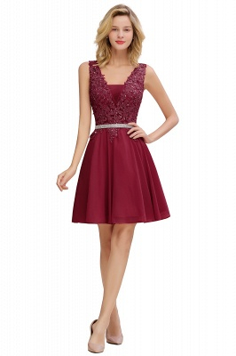 Cute Deep V-neck Short Sexy Sleeveless V-back Dusty Pink Knee length Womens Dress for Cocktail Party_2