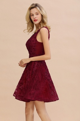 Princess V-neck Knee Length Lace Appliqued Homecoming Dresses | Burgundy Dress for Homecoming_7