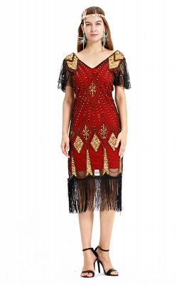 Casual Short Sleeves Short Black Burgundy Cocktail Dresses | Shining Sequined Dress with Tassels_1
