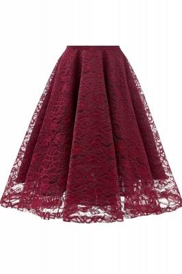 Retro Lace Cap Sleeves Dress Elegant Cocktail Party V-neck A Line Vintage Dress_15