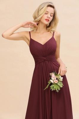 Elegantes Brautjungfer Kleid Weinrot | Schlichte Brautjungfernkleider Mit Träger Bodenlang_5