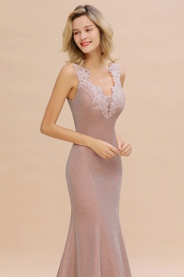 Sparkly Deep V-neck Long Evening Dresses | Elegant Flowers Neck Sleeveless Pink Floor-length Formal Dress_16