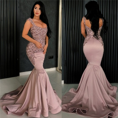 Sexy Pink Mermaid Evening Dress   Straps Appliques Long Formal Dresses_3