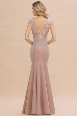 Sparkly Deep V-neck Long Evening Dresses | Elegant Flowers Neck Sleeveless Pink Floor-length Formal Dress_17