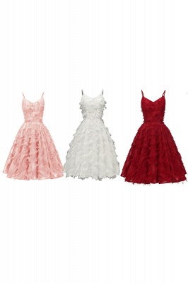 Sexy Cap Sleeves Luxury Spaghetti Straps Dresses | Womens High quality Artificial Feather Cocktail Dress_14