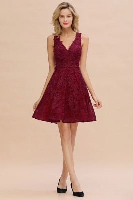 Princess V-neck Knee Length Lace Appliqued Homecoming Dresses | Burgundy Dress for Homecoming_17