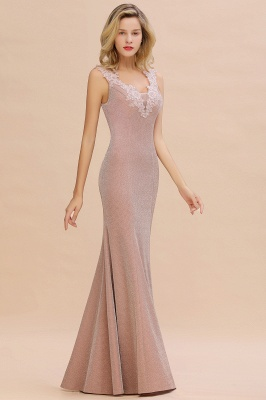 Sparkly Deep V-neck Long Evening Dresses | Elegant Flowers Neck Sleeveless Pink Floor-length Formal Dress_13